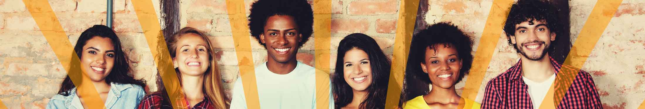 Photo: 6 diverse smiling teenagers